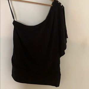White House black market one shoulder black top
